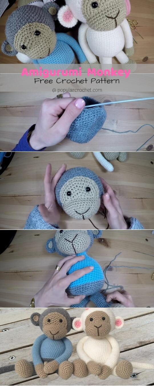 Crochet amigurumi monkey popularcrochet.com #amigurumi #monkey