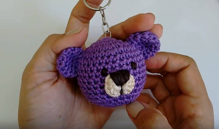 Teddy bear crochet keychain