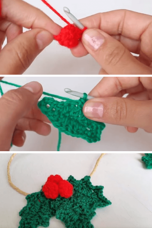 Crochet Holly leafs popularcrochet.com #crochet #holly