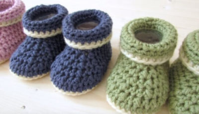 Crochet Cuffed Baby booties 4
