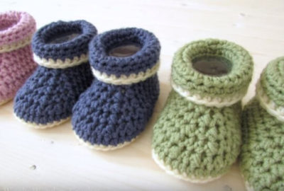 Crochet Cuffed Baby booties 5