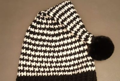 Crochet Houndstooth Stocking Beanie 10
