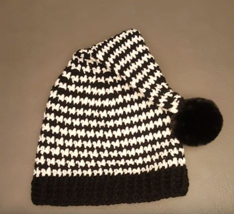Crochet Houndstooth Stocking Beanie 5