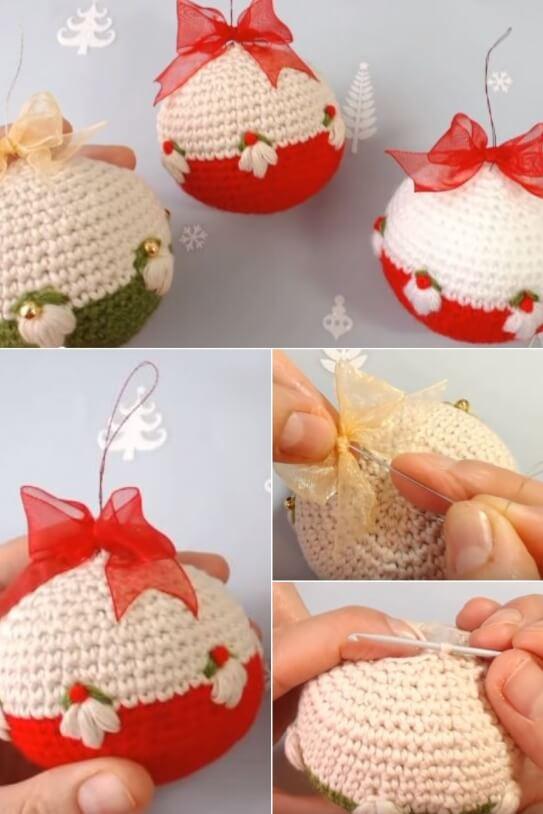 Crochet Christmas Ornament balls popularcrochet.com #crochet #ornamentballs