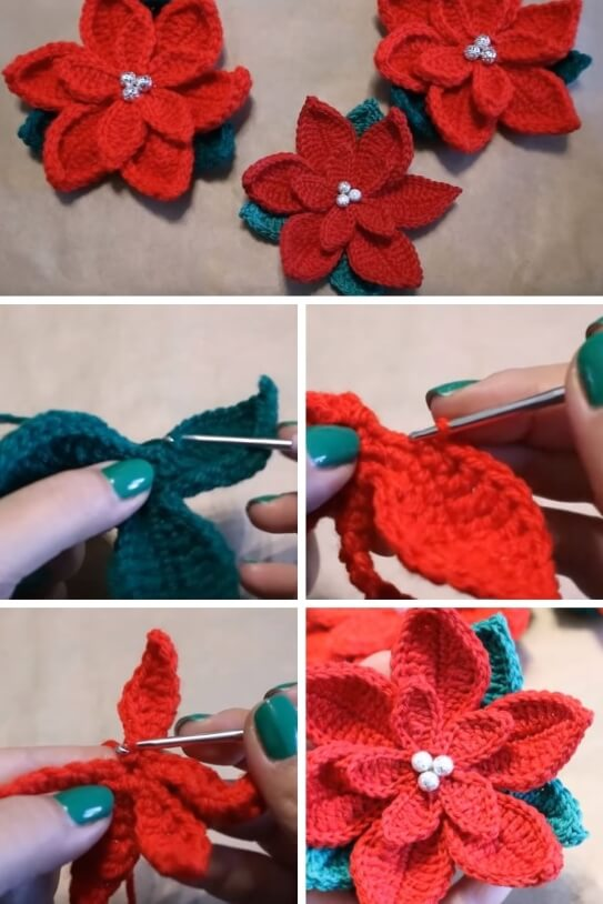 Crochet Christmas Poinsettia popularcrochet.com #crochet #poinsettia