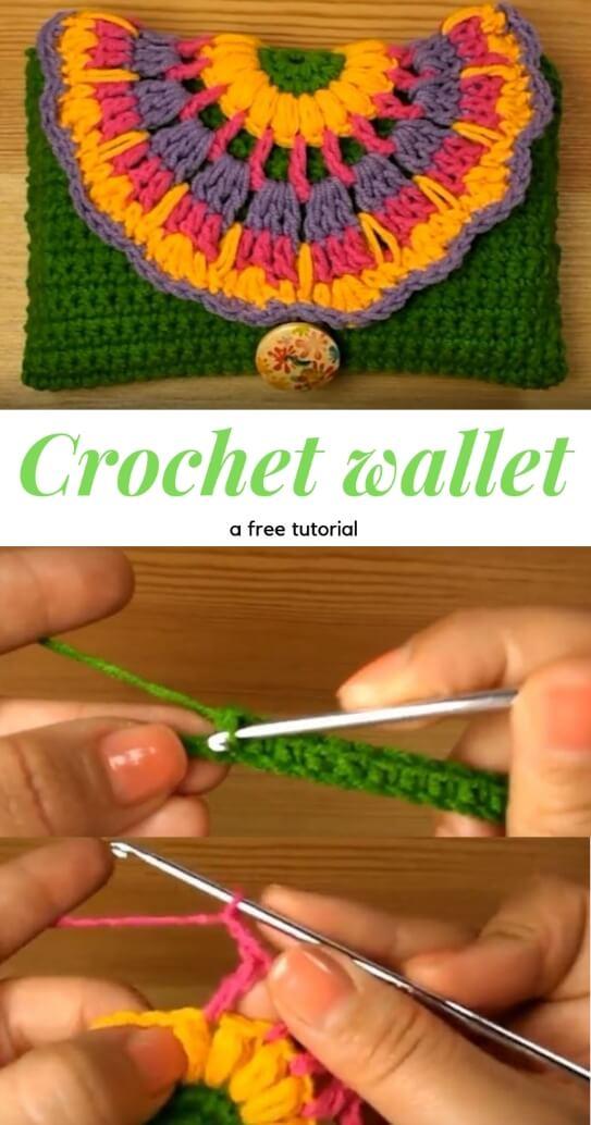 Crochet Colorful Wallet popularcrochet.com #crochet #wallet