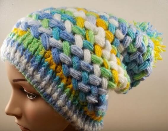 Crochet Puff Braid Ice Cap 1