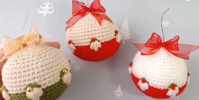 Crochet Christmas Ornament balls 9