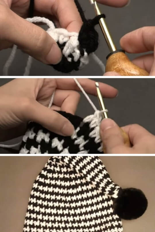 Crochet Houndstooth Stocking Beanie