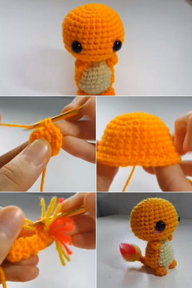 Crochet Charmander Amigurumi popularcrochet.com #crochet #charmander