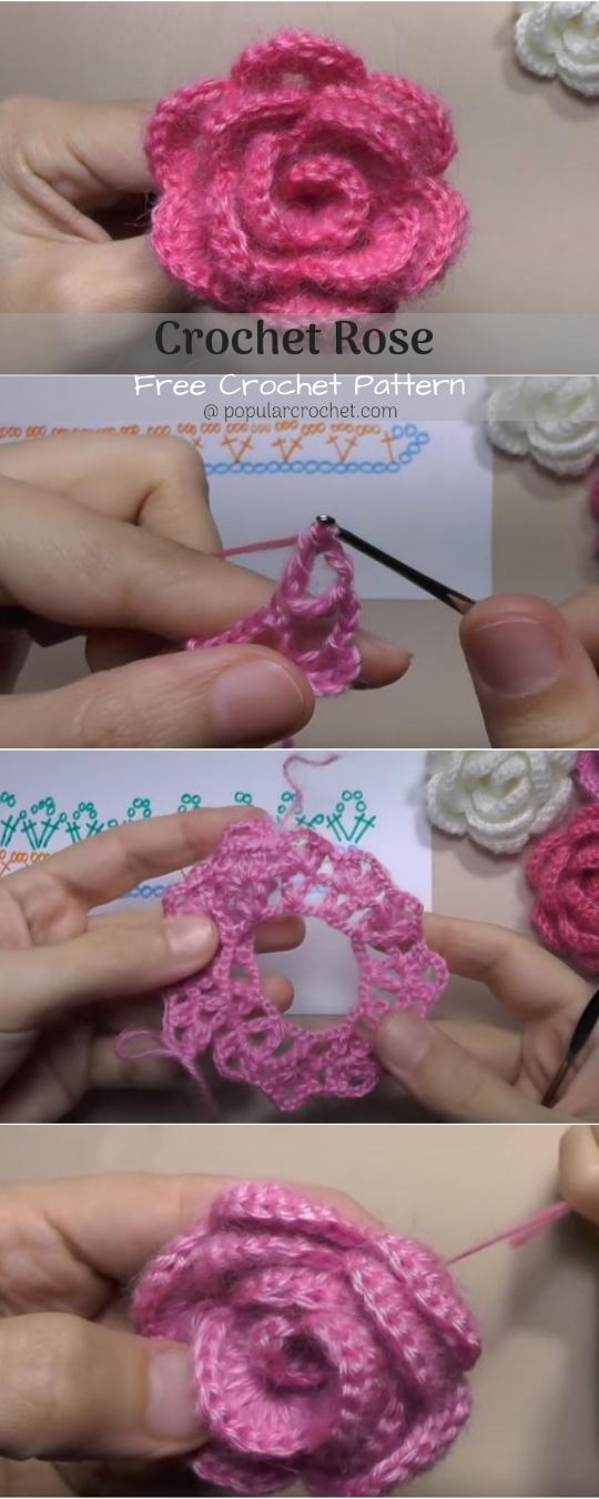 Rose Crochet popularcrochet.com #freepattern #rosecrochet #rose