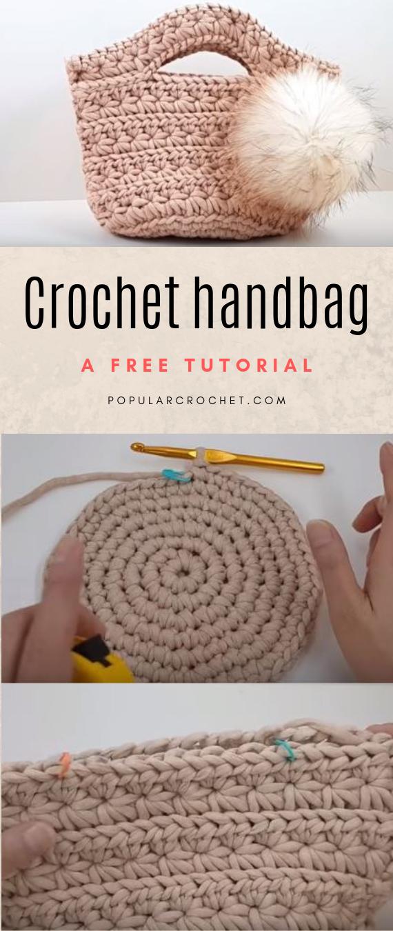 Crochet handbag popularcrochet.com #popularcrochet #crochet #crochethandbag #freecrochettutorial