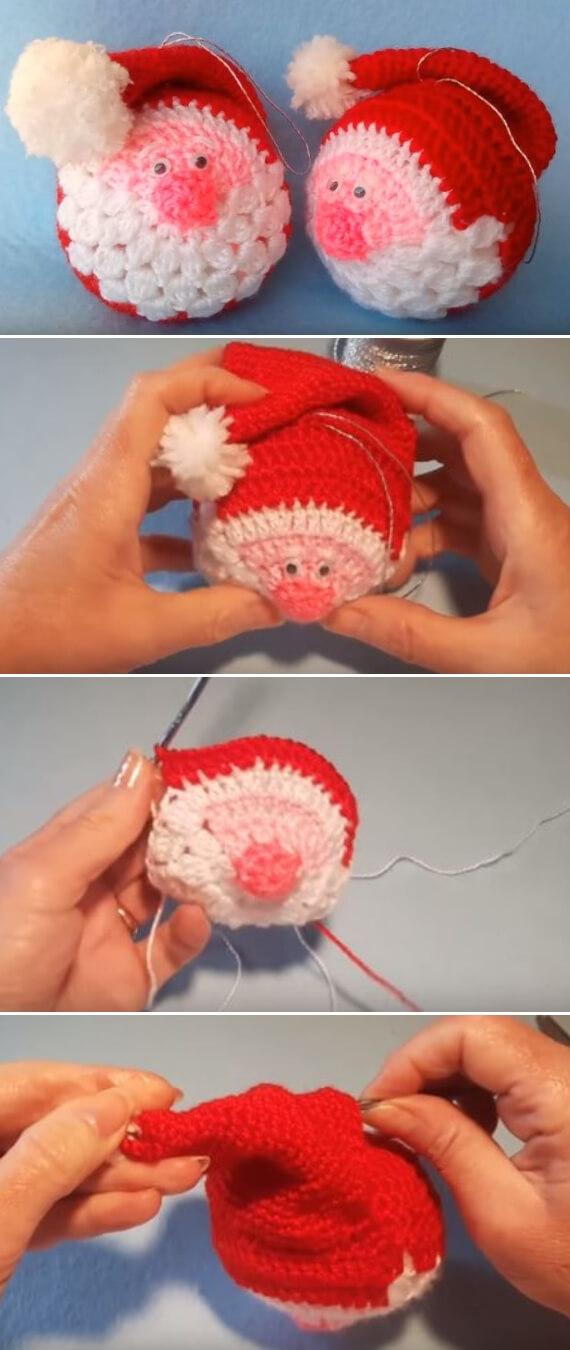 Santa Crochet Ornament popularcrochet.com #crochet #santa #ornament