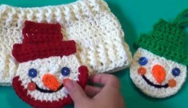 Snowman Crochet Applique / Ornament 8