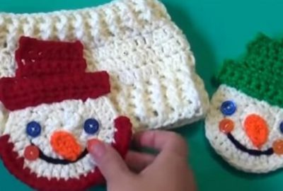 Snowman Crochet Applique / Ornament 5