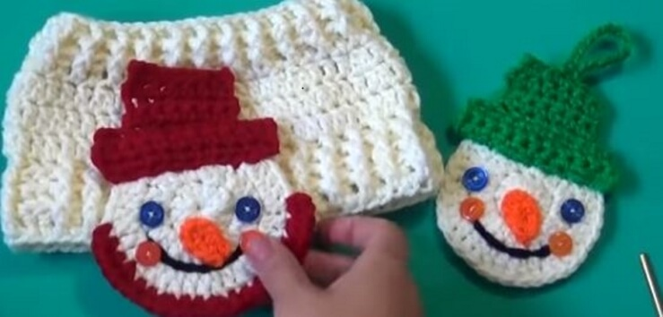 Snowman Crochet Applique / Ornament 1