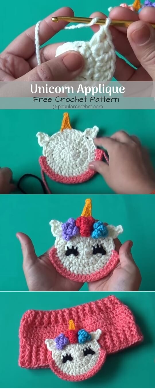 Unicorn Crochet Applique popularcrochet.com #crochetapplique #applique