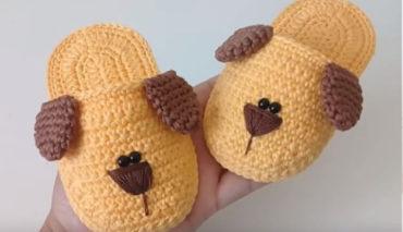 Crochet puppy slippers 5
