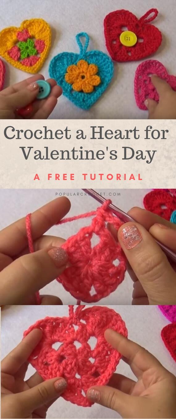 Crochet a Valentine's Day Heart popularcrochet.com #popularcrochet #crochet #crochetheart #freecrochet #freecrochetpattern