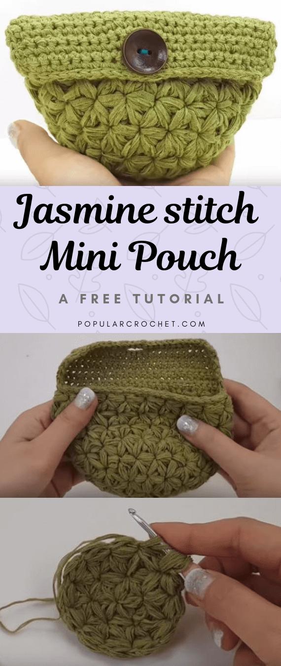 Jasmine Crochet Stitch Mini Pouch popularcrochet.com #popularcrochet #crochet #jasminestitch #minipouch #freecrochettutorial