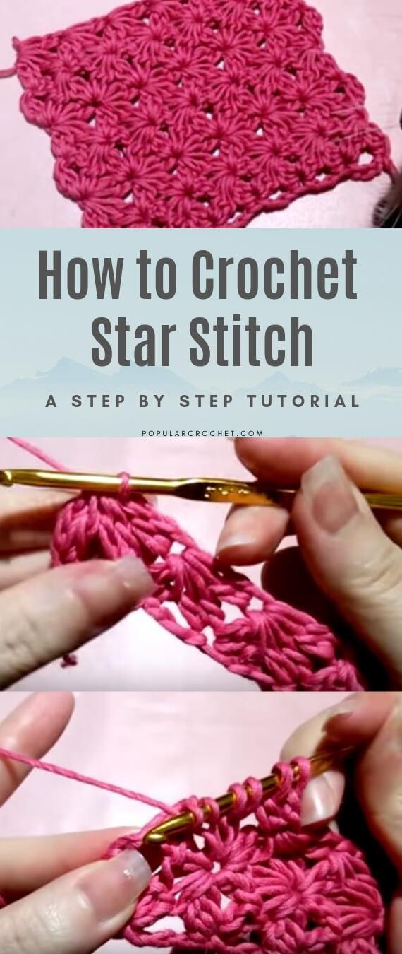 How to crochet Star stitch popularcrochet.com #popularcrochet #crochet #starstitch #freecrochet #freecrochetpattern