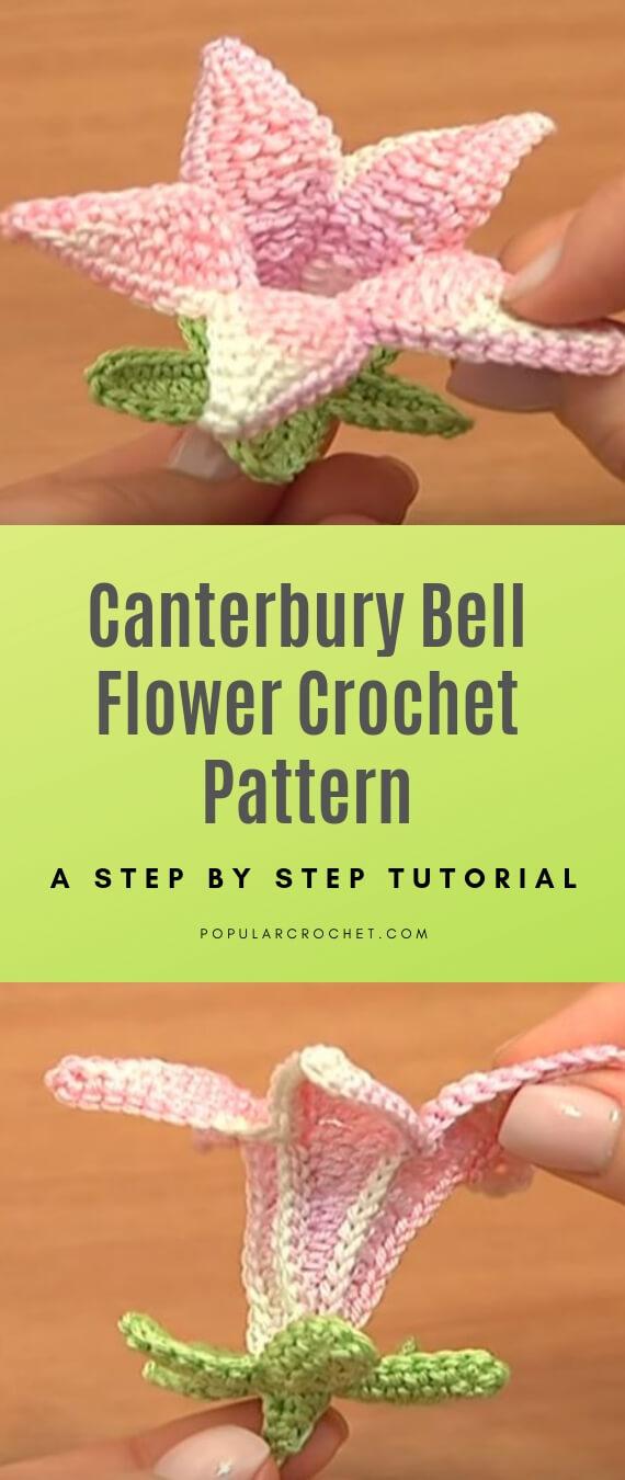 Canterbury Bell Flower Crochet pattern popularcrochet.com #popularcrochet #crochet #canterburybell #flowercrochet #freecrochetpattern