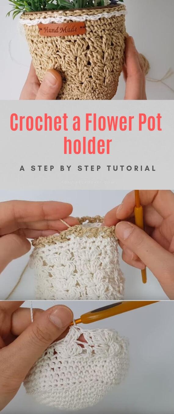 Crochet a Flower Pot holder popularcrochet.com #popularcrochet #crochet #flowerpotholder #freecrochetpattern