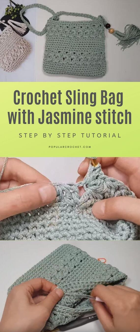 Crochet sling bag with Jasmine stitch popularcrochet.com #popularcrochet #crochet #slingbag #freecrochet #freecrochetpattern