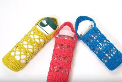 How to crochet a water bottle holder 10