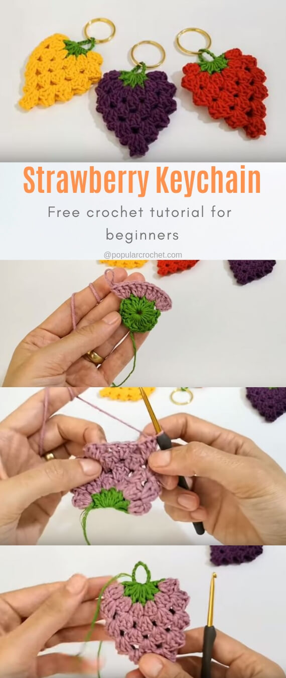 Strawberry crochet keychain popularcrochet.com #popularcrochet #crochet #strawberry #keychain #freecrochetpattern