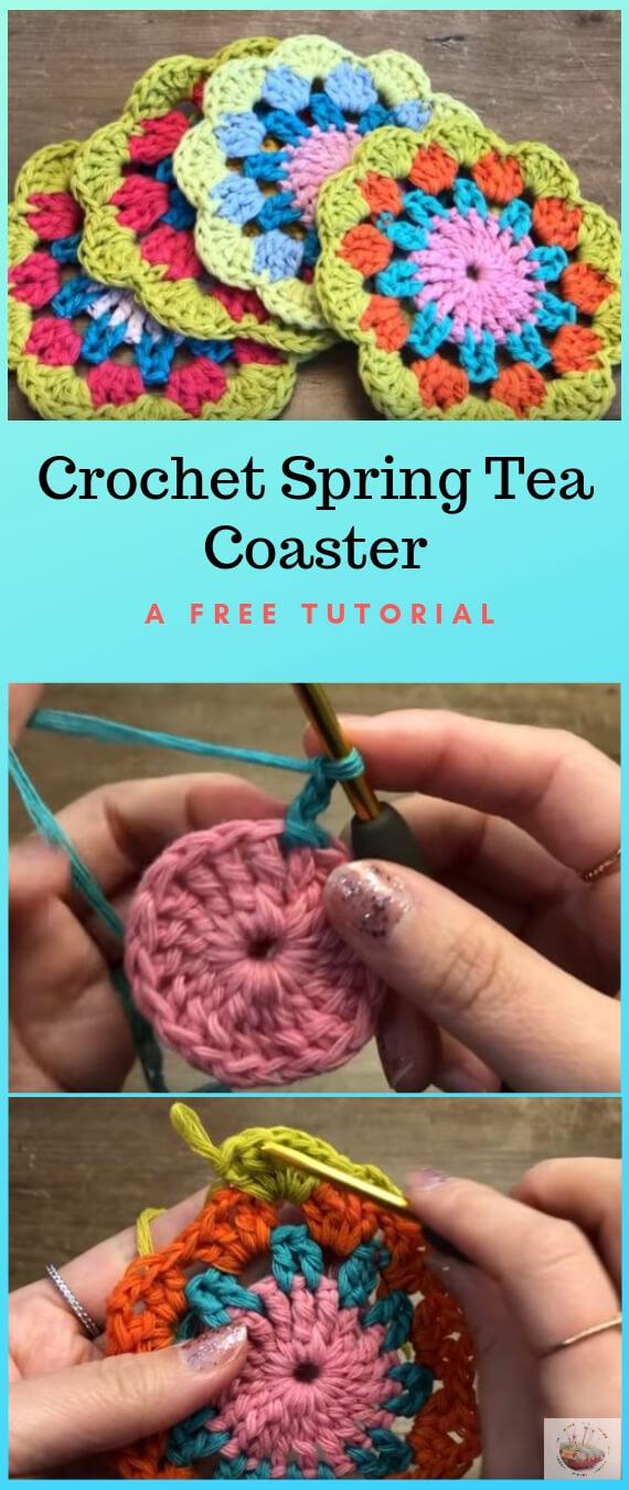 Crochet Spring Tea Coaster  popularcrochet.com #popularcrochet #crochet #coaster #freecrochetpattern