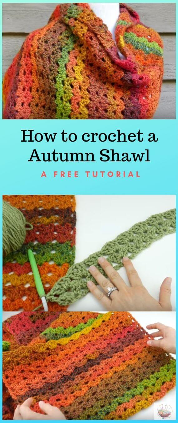 How To Crochet an Autumn Shawl popularcrochet.com #popularcrochet #crochet #autumnshawl #freecrochetpattern