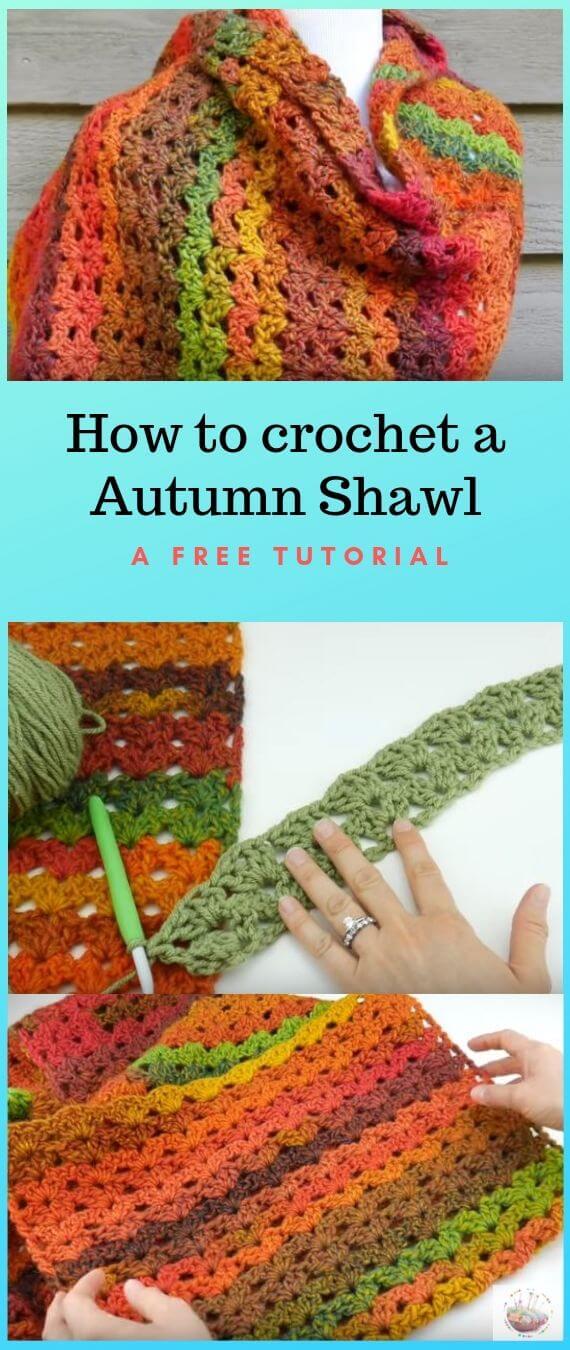 How To Crochet an Autumn Shawl popularcrochet.com #popularcrochet #crochet #autumnshawl #freecrochetpattern