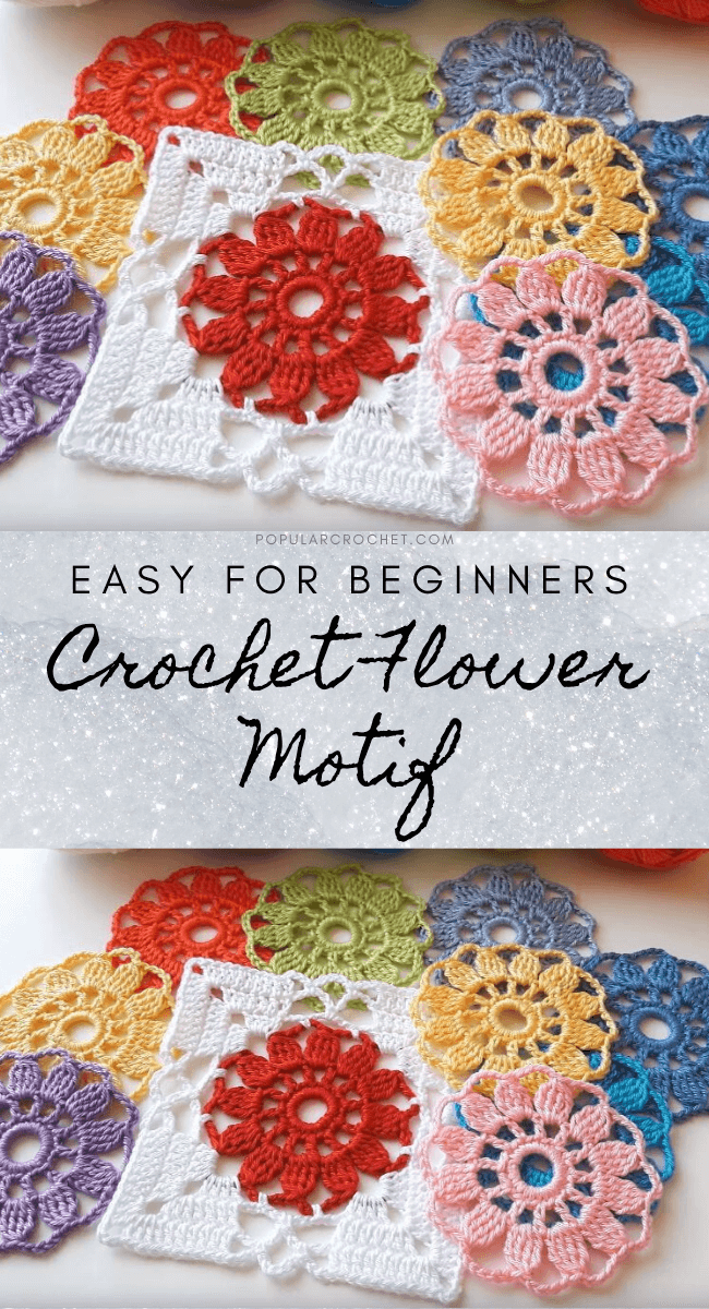 Crochet Flower Motif popularcrochet.com #popularcrochet #crochet #flowermotif #freecrochetpattern
