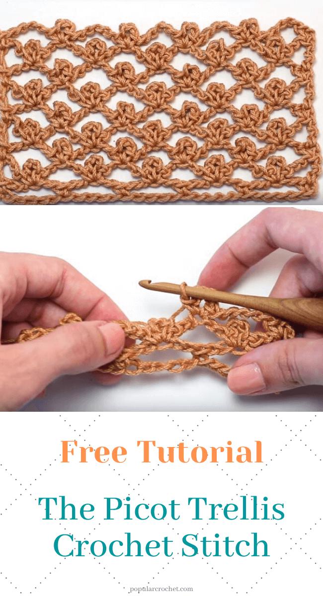 The Picco Trellis Crochet Stitch popularcrochet.com #popularcrochet #crochet #piccotrellis #freecrochetpattern