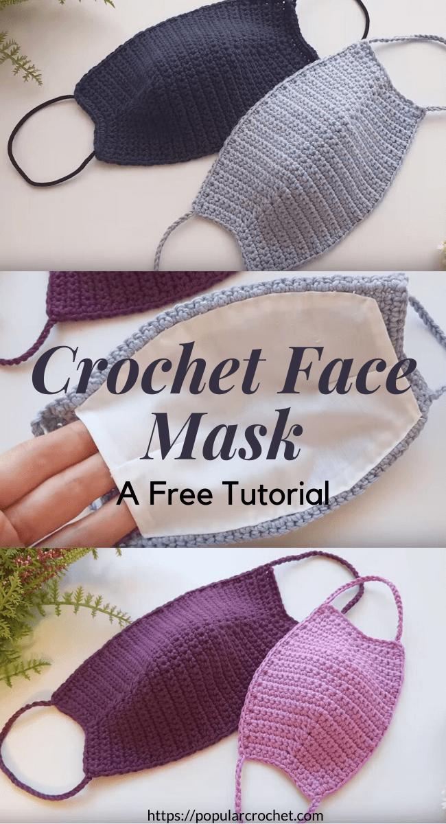 Crochet Face Mask popularcrochet.com #popularcrochet #crochet #crochetfacemask #freecrochetpattern