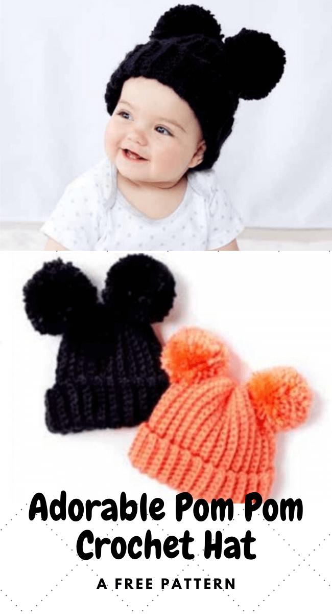 Adorable Pom Pom Crochet Hat popularcrochet.com #popularcrochet #crochet #pompomcrochethat #freecrochetpattern