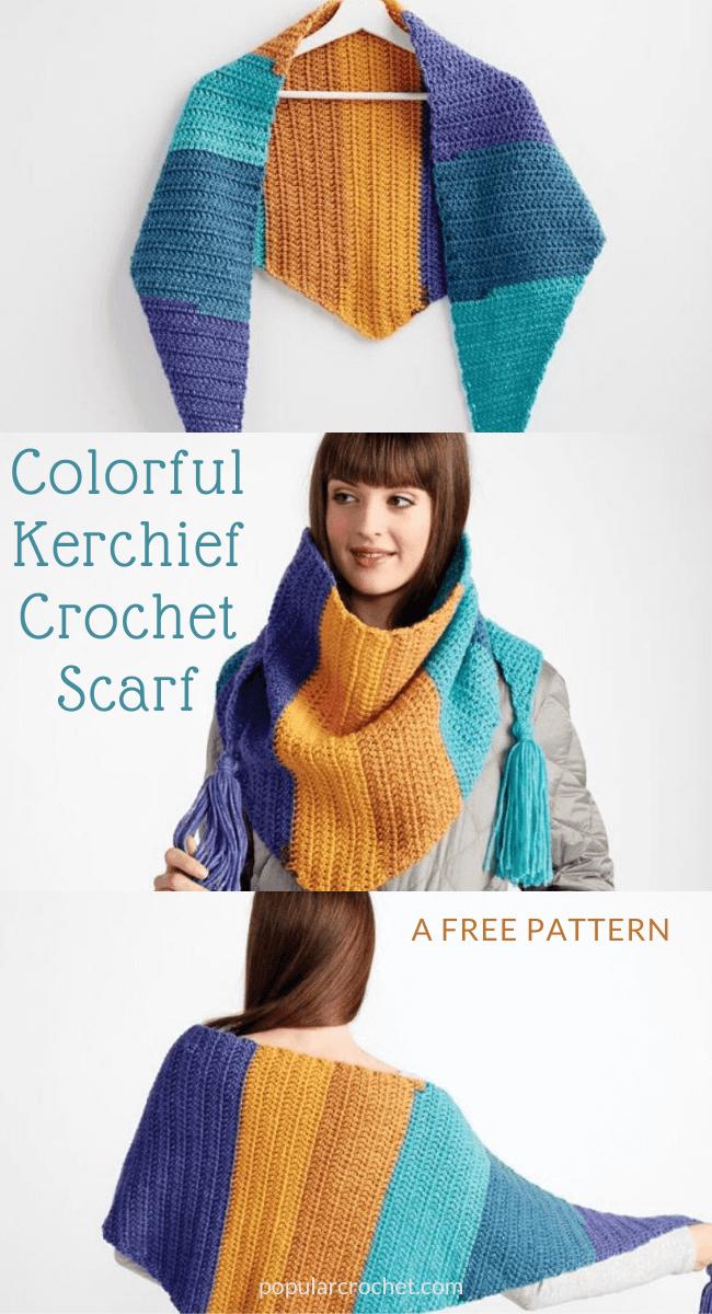 Colorful Kerchief Crochet Scarf popularcrochet.com #popularcrochet #crochet #kerchiefscarf #freecrochetpattern